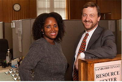 Attorney of the Day Alicia Lee and Brian Rohal at the Landlord Tenant Resource Center